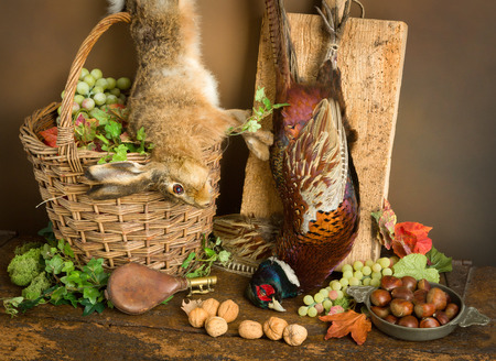 hunting: Antique old master hunting still life with pheasant and hare Stock Photo