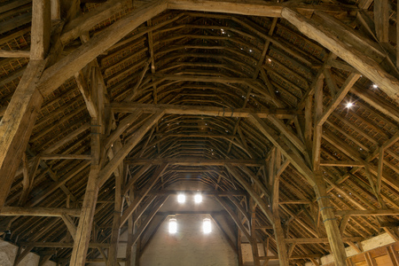 barns: Gothic medieval barn in Lissewege, Flanders in Belgium, a 13th century building