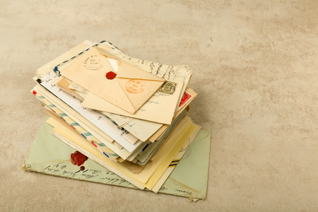 bundle of letters: Old envelopes and letters stacked in a bundle