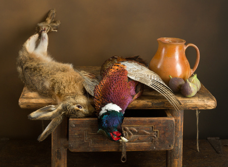 Antique old master hunting still life with pheasant and hare Stok Fotoğraf