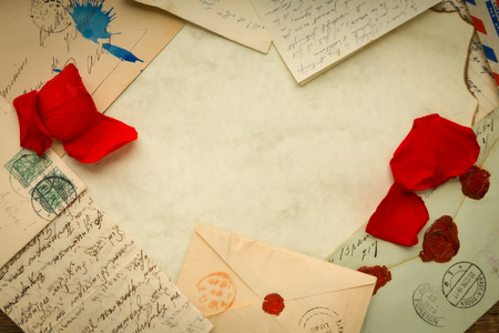 old letters: Border of old letters and copy space on parchment Stock Photo
