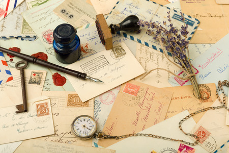 ink well: Full page image of old letters and nostalgic objects