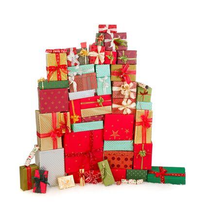 christmas presents: Huge and high stack of colorful christmas presents Stock Photo