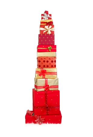 red box: Beautiful stack of christmas presents with ribbons and bows