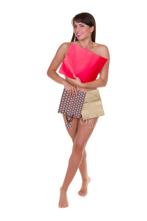 shoppingbag: Funny photo of a young woman with nothing to wear but waste materials - this is part of a series with jute bag, toilet paper