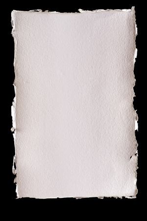 Isolated textured ivory background paper with torn edges Stok Fotoğraf