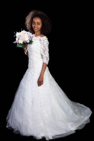 ethiopian: Beautiful African Ethiopian woman in a white wedding gown Stock Photo