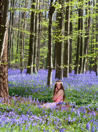 wood nymph: Innocent young woman with pink fairy dress in a springtime bluebells forest Stock Photo