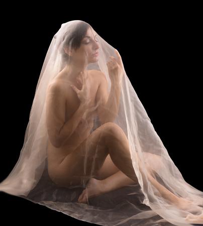 desnudo artistico: Artística imagen desnuda de una mujer joven cubierta en tela transparente Foto de archivo