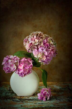 painterly: Painterly textured flower still life on old wooden board