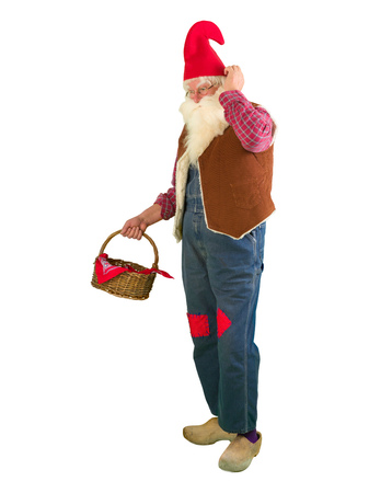 dwarf costume: Funny garden gnome on white holding a wicker basket Stock Photo