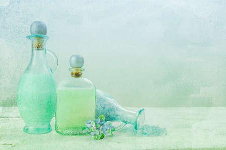 textured: Bath oil and salt on a textured background