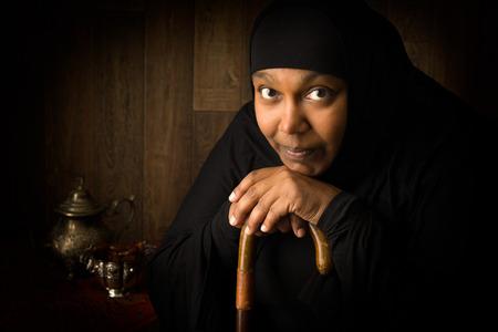 beautiful black woman: African mulsim woman weiring a black veil