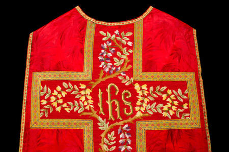 ceremonial clothing: Isolated chasuble or antique vestment of 19th century Stock Photo