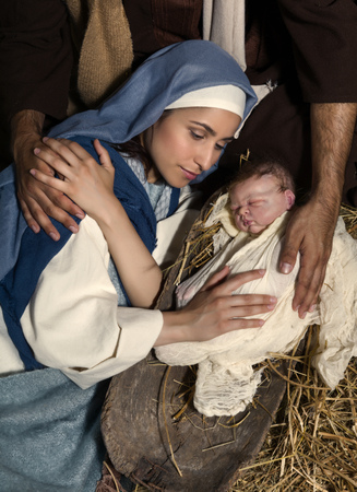 messiah: Live Christmas nativity scene in an old barn - Reenactment play with authentic costumes.  The baby is a (property released) doll.