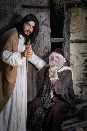 lepra: escena Biblia juego recreación histórica con un hombre de la lepra Foto de archivo