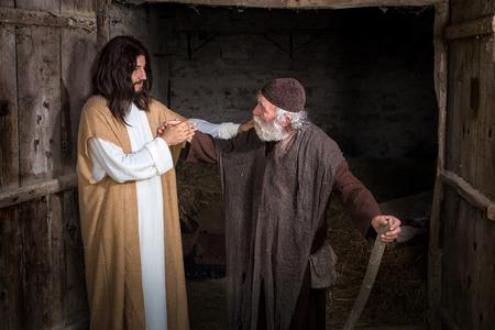 ラメや足の不自由な男を癒しイエス 写真素材 - 67075111