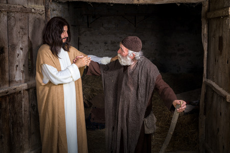 Jesus healing the lame or crippled man Banco de Imagens