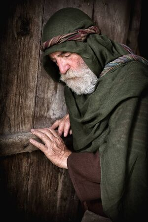 old times: Apostle Peter in shame and repentance after having denied knowing Jesus before the cock crows three times