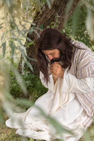Jesus in agony praying in the garden of olives before his crucifixion Stock Photo