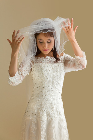 studio shots: Studio shots of a gorgeous young bride in traditional white dress and veil