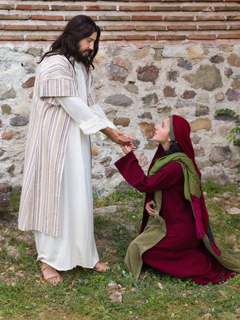 Mary Magdalene recognizing Jesus after His Resurrection Stock Photo