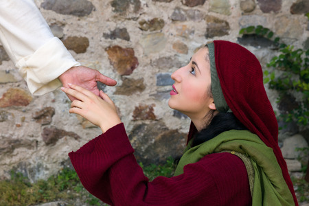 Mary Magdalene recognizing Jesus after His Resurrection Reklamní fotografie - 73945129