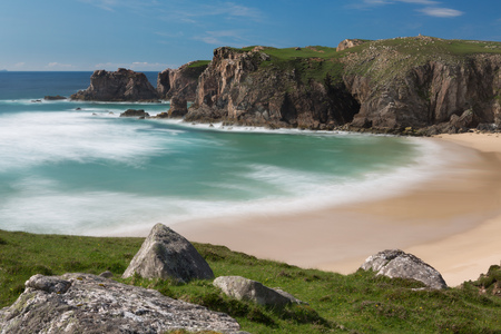 Mangersta or Mangurstadh beach and sea stacks on the Isle of Lewis and Harris, Outer Hebrides, Scotland.