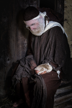 Bible scene historical reenactment play with a leprosy man