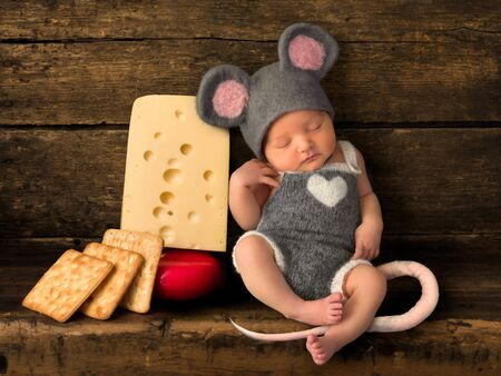 Composite image with a sleeping newborn baby dressed as an adorable mouse