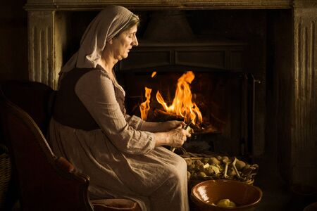 Renaissance old master portrait of a peasant woman peeling potatoes at her fireplace 免版税图像