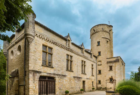 View on the facade of a medieval French chateau with property release