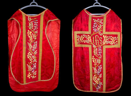 Front and back of an antique 19th century vestment chasuble
