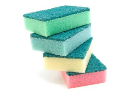 Colored cleaning sponges isolated on white background Stock Photo - 3505183
