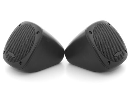 two party system: Car speakers isolated on white