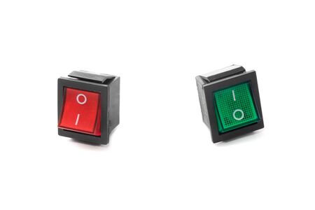 rejecting: Red and green push buttons (switchers) in different positions