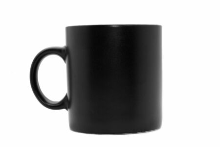 usual: Usual  black office coffee mug isolated on white Stock Photo