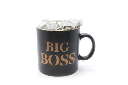 No rest for big boss: keyboard keys in coffee mug Stock Photo - 4296111