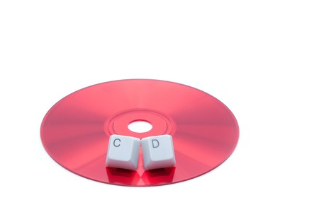 ÑD disk isolated and ÑD letters on keyboard keys