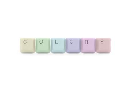 Colors palette of tecnology industry: multicolored keyboard keys photo