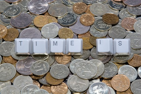 Business concept: time is sign on money background photo