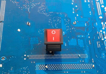 Push red button - button on blue technological background Stock Photo - 4431034