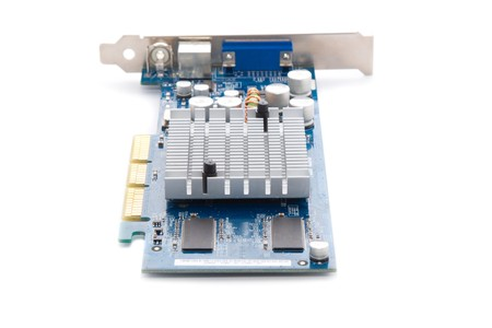 Beautiful graphic accelerator (video computer card) isolated on white photo