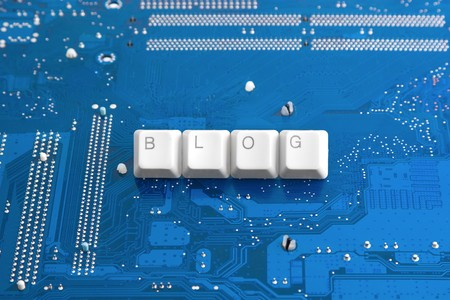 blogosphere: Start your blog: blogging concept by keyboard keys caption and  blue technological background  Stock Photo