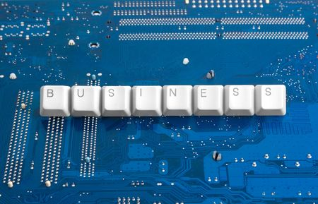 caption: Technology business: motherboard background and BUSINESS caption Stock Photo