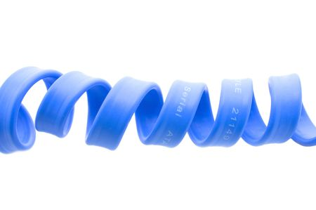 Serial ata computer blue cord isolated on white photo