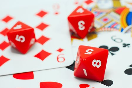 excitement: Card game excitement: red dices and cards Stock Photo