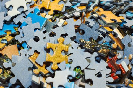 puzzle jigsaw: Task too difficult: pile of jigsaw puzzle pieces