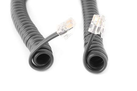 Feeling communication: concept of two phone cords emotion photo