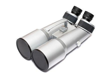 astronomic: Mighty grey astronomic binocular isolated on white